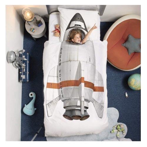 Rocket Ship Duvet Cover Set Twin